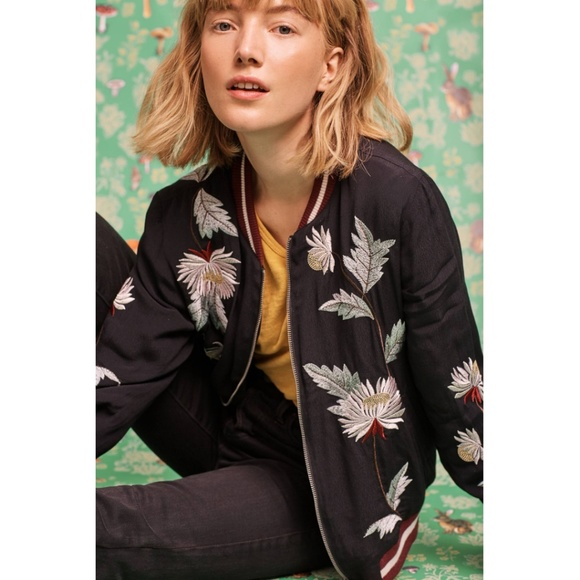 Anthropologie Jackets & Blazers - RARE NWT ANTHROPOLOGIE Embroidered Solstice Bomber